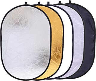 5-in-1 Oval Light Reflector 24 x 35 inch (60 x 90cm) Portable Collapsible Photography Studio Photo Camera Lighting Reflectors/Diffuser Kit with Carrying Case