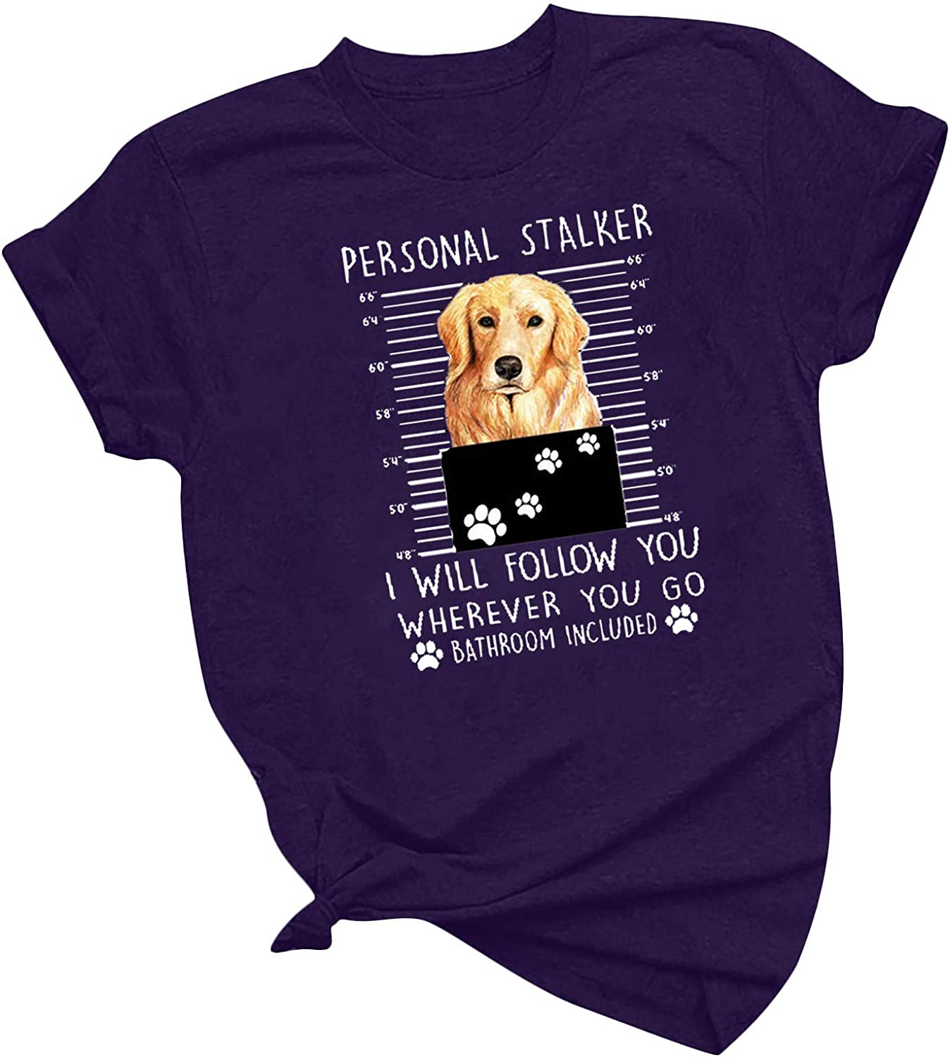Personal Stalker Dog Shirt Womens Short Sleeve Tshirt Golden Retriever and Dog Paw Graphic Tees Dog Lover Owner