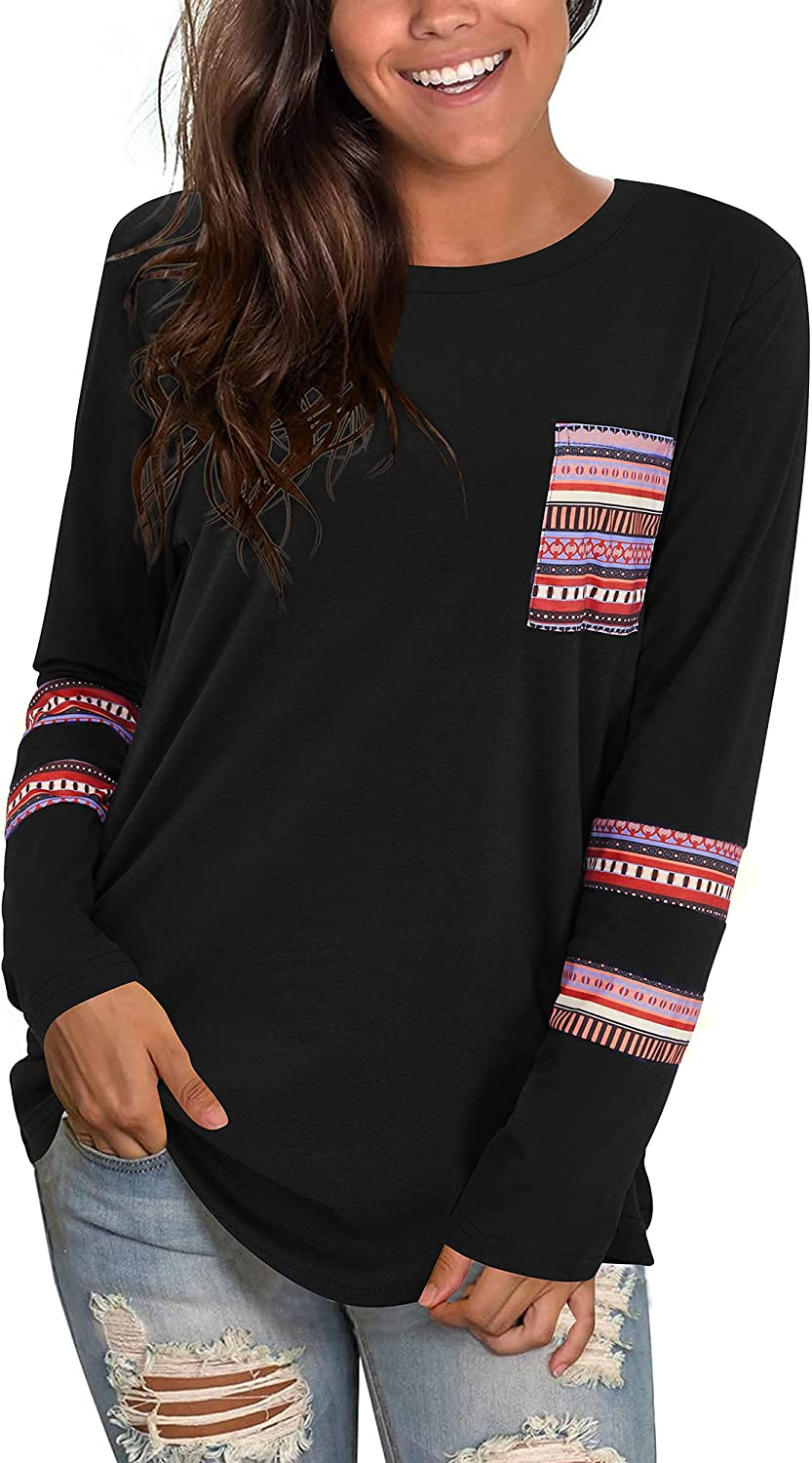 KILIG Women's Long Sleeve T-Shirt Round Neck Leopard Color Block Patchwork Casual Tunic Tops with Pocket