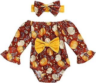 Newborn Baby Girl Halloween Outfit Long Flared Sleeve Bow Floral Pumpkin Print Romper Jumpsuit+Headband 2PCS Clothes Set