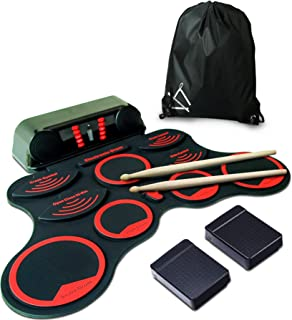 MiniArtis Roll Up Drum Kit | Electronic Drum Set with Practice 10 Labeled Pad | Built-In Speakers | Headphone Jack | 2 Foot Pedals | Red Sticks & Carry Case Included | Holiday Birthday Gift for Kids