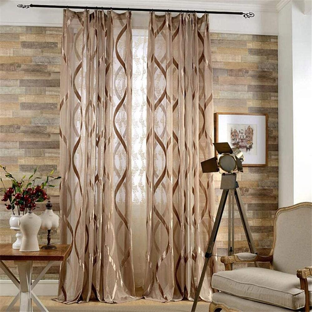 Gxi Brown Stripes Curtain 低価格化 for Living Knitting Panels Warp Room テレビで話題 2