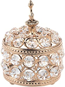 Feyarl Glam Crystal Jewelry Box Sparkly Trinket Organizer Earrings Rings Box Treasure Keepsake Box Storage Mirror Surface with Lid for Valentine Wedding Birthday Gift Tabletop Bedroom Decoration(Gold)