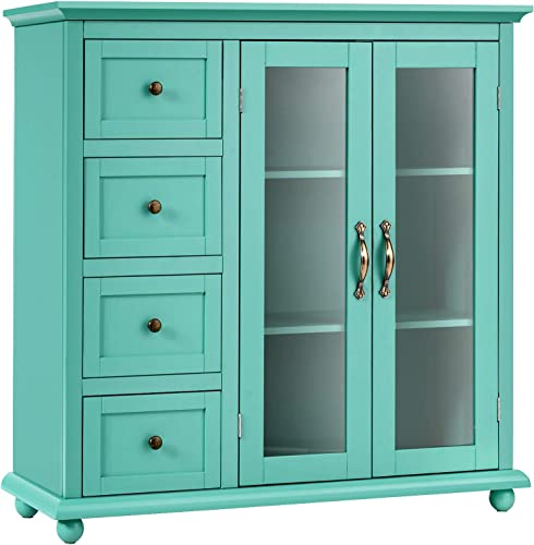 wholesale Giantex Buffet Sideboard, Wood Storage Cabinet, Console Table high quality with 4 Drawers, 2-Door Credenza, Living Room Dining Room Furniture, Buffet Server, Kitchen Pantry discount Cupboard (Sea Green) outlet sale