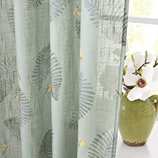 KGORGE Floral Pattern Sheer Curtains, Leaves Printed Faux Linen Voile Drapes Botanical Room Curtains Set, Brighten Up Home Privacy Protected Window Screen for Setting Room, 52 Wide x 63 Long, Green