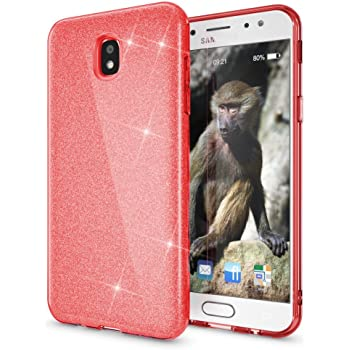 Coovertify Funda Purpurina Brillante Red Rose Samsung J7 2017 ...