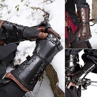 XDXDO Armuards en Cuir médiéval, Cosplay Gants de Boxe Gants de Protection PU Cuir PU-Breakbande de Poitrine de Protection...