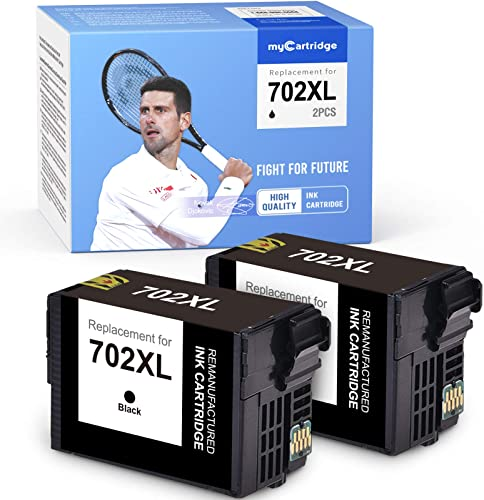 new arrival myCartridge Remanufactured Ink Cartridge Replacement for Epson 702XL 702 XL T702XL T702 use with Epson Workforce Pro WF-3720 WF-3730 WF-3733AIO discount Printer Black sale 2-Pack outlet online sale