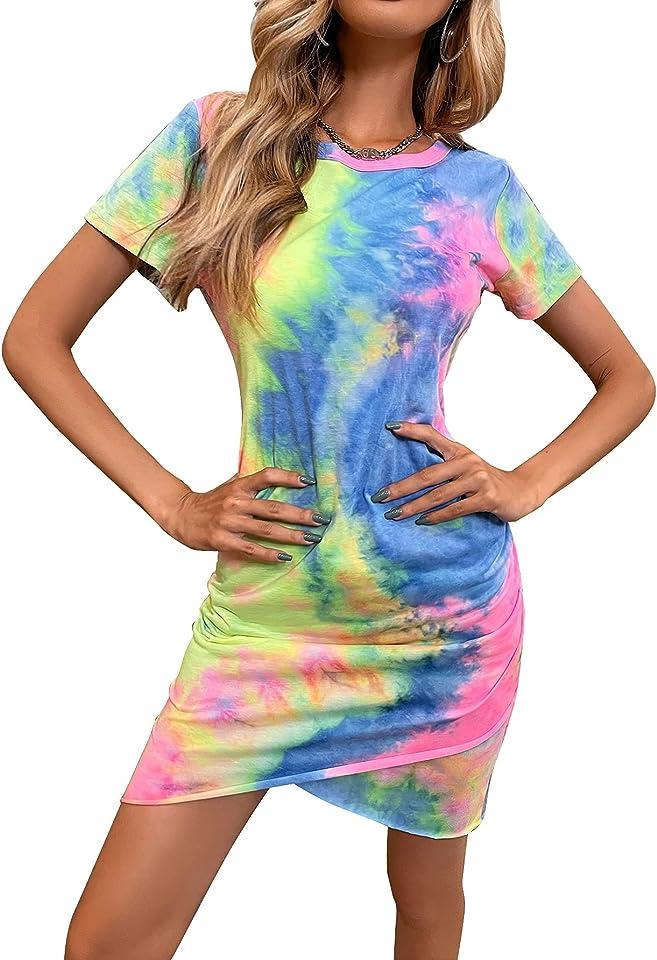 KUIIHUAZ Women's Summer Casual Crew Neck Short Sleeve Ruched Stretchy Tulip Hem Bodycon Tie Dye T Shirt Short Mini Dress