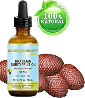 BURITI FRUIT OIL Brazilian. 100% Pure / Natural / REFINED Undiluted Cold Pressed Carrier Oil . For Face, Body, Hair, Lip and Nail Care. 0.5 fl oz- 15 ml.