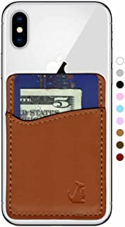 Premium Leather Phone Card Holder Stick On Wallet for iPhone and Android Smartphones Kangaroo (Brown Leather) by Wallaro
