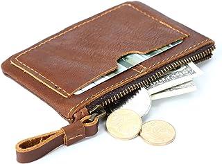 TONGDAUAE Men's Wallet Leather Retro Mini Purse Short Zip Wallet Card Case (Color : F, Size : S)