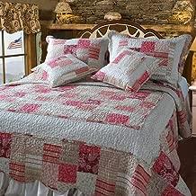 DaDa Bedding DXJ103197 Carnation Cotton Patchwork 5-Piece Quilt Set, King, Pink