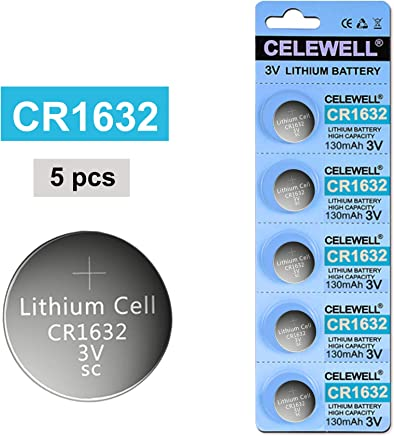 CELEWELL CR1632 Lithium Battery 3V for Garmin Vivofit Jr Watch Key Fob Replacement (5 Pack)