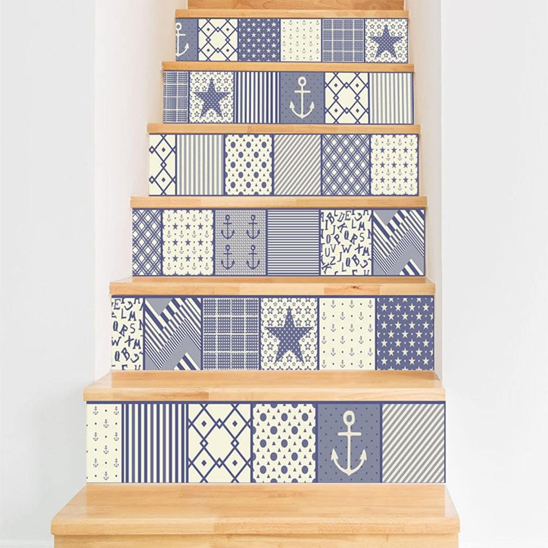 TIEZHI 3D Treppen Aufkleber Retro Fliesen Wandaufkleber DIY Kombination Tapeten zum Zuhause Korridor Treppenhaus Renovierung Dekoration Selbstklebend, 2 Set 12 pcs, 100  18cm B07BWFBP5L   Neues Design