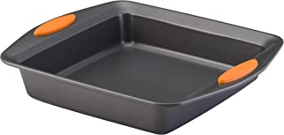 Rachael Ray Yum-o! Nonstick Bakeware 9-Inch Oven Lovin' Square Baking Pan, Gray with Orange Handles