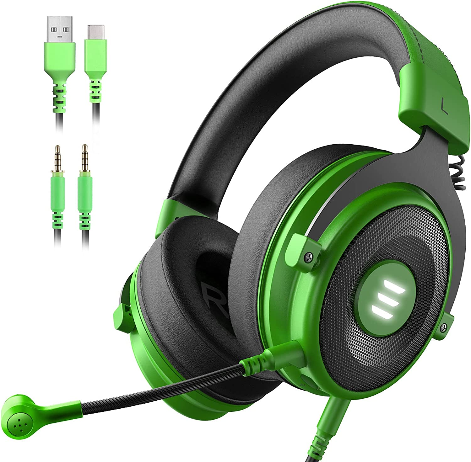 EKSA E900 PS4 Gaming Headset - PC USB Headset with 7.1 Surround Sound Detachable Microphone&LED Light, Gaming Headphones Compatible with PC, PS4, PS5, Xbox One, Computer, Laptop (E900 Pro, Green)