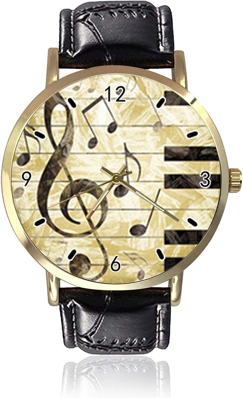 Reloj de pulsera de cuarzo con clave de sol para mujer, unisex, de piel, informal, de piano