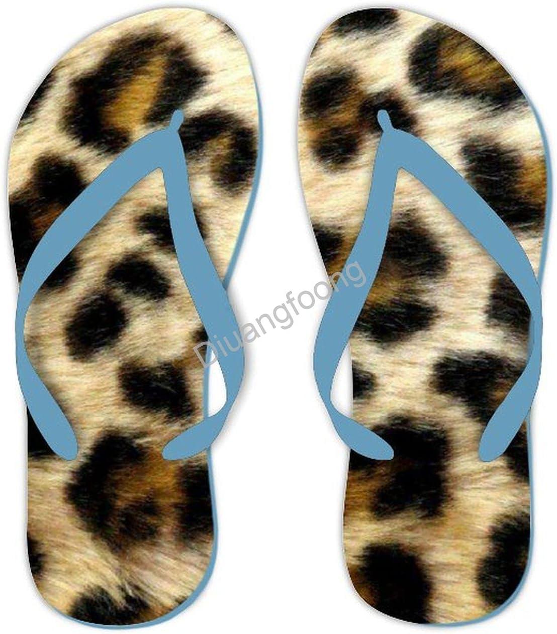Leopard Flip Flop Designer Fashion Thong Sandal Fun Sandal For Outdoor Travel Shipping Blue Style4