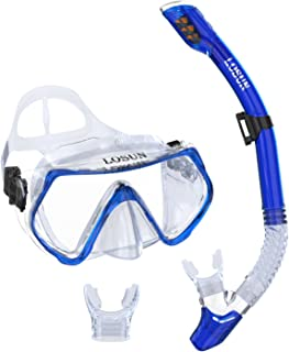 Losun Snorkel Set for Adult with 2 Mouthpieces, Anti-Fog & Impact Resistant Tempered Glass Diving Swimming Goggles Mask Dry Snorkel Tube Set