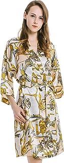 JZLPIN Womens Kimono Robes Short Dressing Gown Satin Bathrobe V-Neck Pyjamas Nightdress Sleepwear