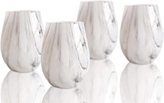 Elle Collection 329358-4ST Marble Stemless Wine Goblet Glass Set of 4 – Lead-free Matching Modern Drinkware For Everyday Or Entertaining – Gift for Weddings, Birthdays, Holidays, 18 oz, Gray