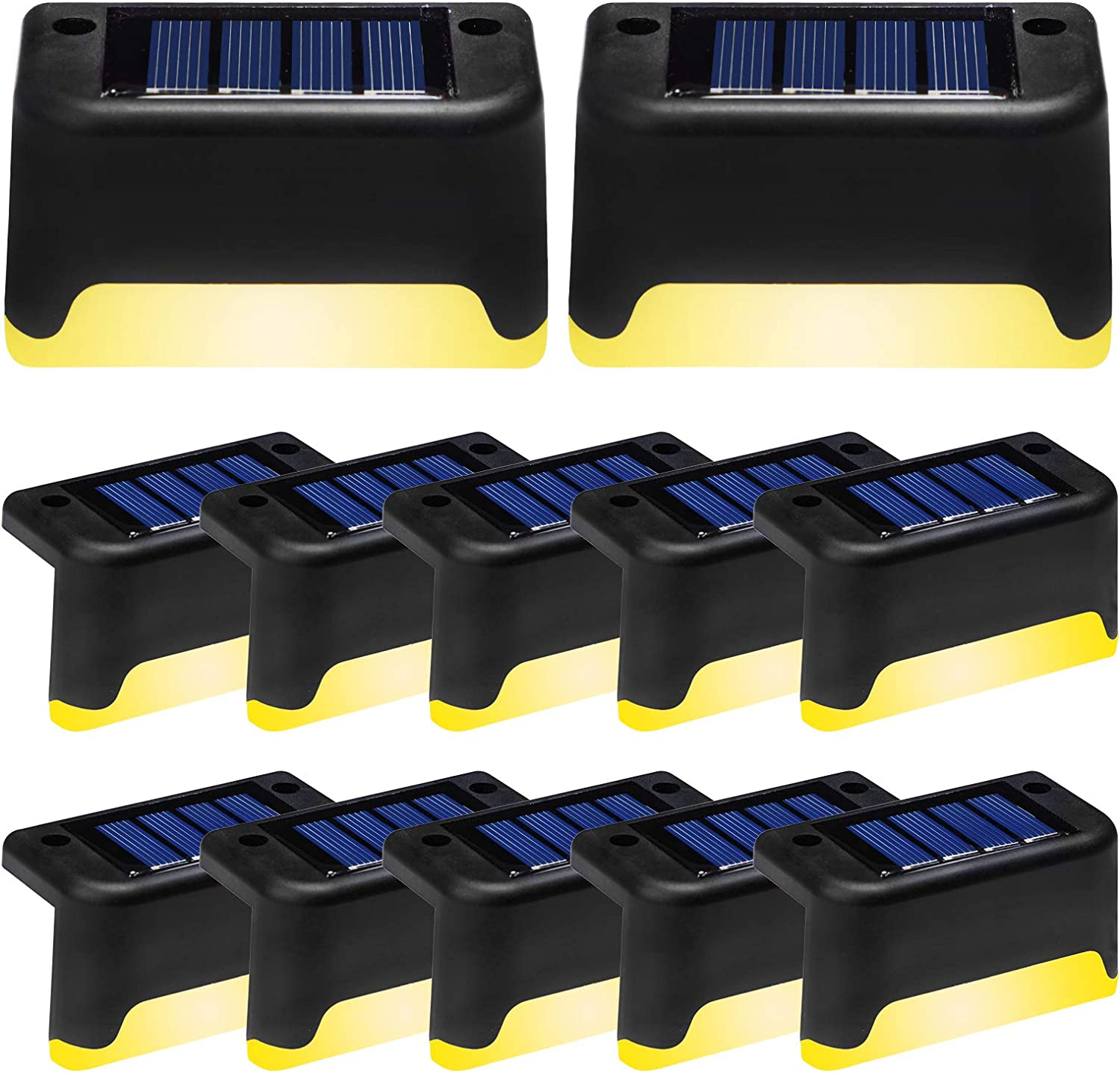 Solar Deck Lights Outdoor,12 Pack LED Step Light Waterproof Landscape Lighting for Stairs,Step,Fence,Yard,Patio,Driveway,Pathway,Yard,Backyard and Garden (Black,Warm White))