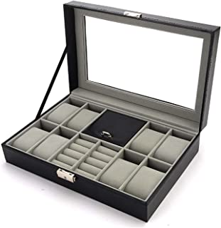 Cufflinks and Watch Box Organizer Watch Case for Men PU Leather for Display Storage Holder for 8 Watches Cufflinks and Rings with Glass Top Black