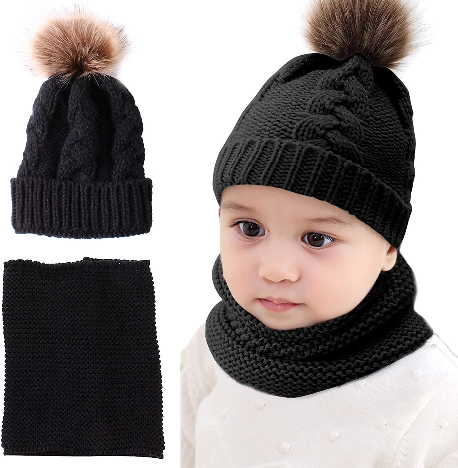 SH-RuiDu Kids Knitted Hat Neck Warmer Child Al sold out. Pom Winter Set Warm National products