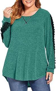 Women Soft Casual Plus Size Blouses Long Sleeve Shirts...