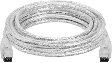 Cmple - 15FT FireWire Cable 6 Pin to 6 Pin Male to Male iLink DV Cable Firewire 400 IEEE 1394 Cord for Computer Laptop PC to JVC Sony Camcorder - 15 Feet Clear