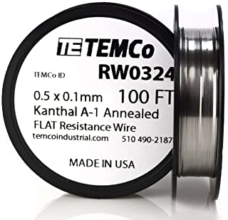 TEMCo Flat Ribbon Kanthal A1 Wire 0.5mm x 0.1mm 100 Ft Resistance A-1