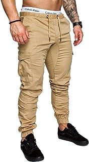 CRYYU Men's Sports Pants Elastic Waist Casual Drawstring Skinny Pants with Pockets