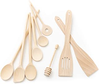Tuuli Kitchen Ensemble de Utensiles de Cuisine Bois (6x Cuillère de cuisine, Cuillère à miel, 2x Spatule)