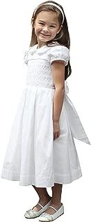 Smocked First Communion Dress Girls White Baptism Dress Flower Girl
