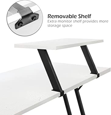 LUFEIYA L Shaped Desk White Corner Computer Desks for Small Space Home Office Student Study Bedroom Gaming PC Work,51 Inch Mo