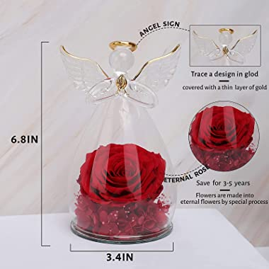 Sacredyna 6.6 Inches Birthday Gifts for Mom Grandma Nana, Angel Figurines with Red Preserved Rose, Thanksgiving Gifts