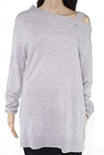 Lark & Ro Womens Sweater Heather Gray US Large L Knitted Cold Shoulder