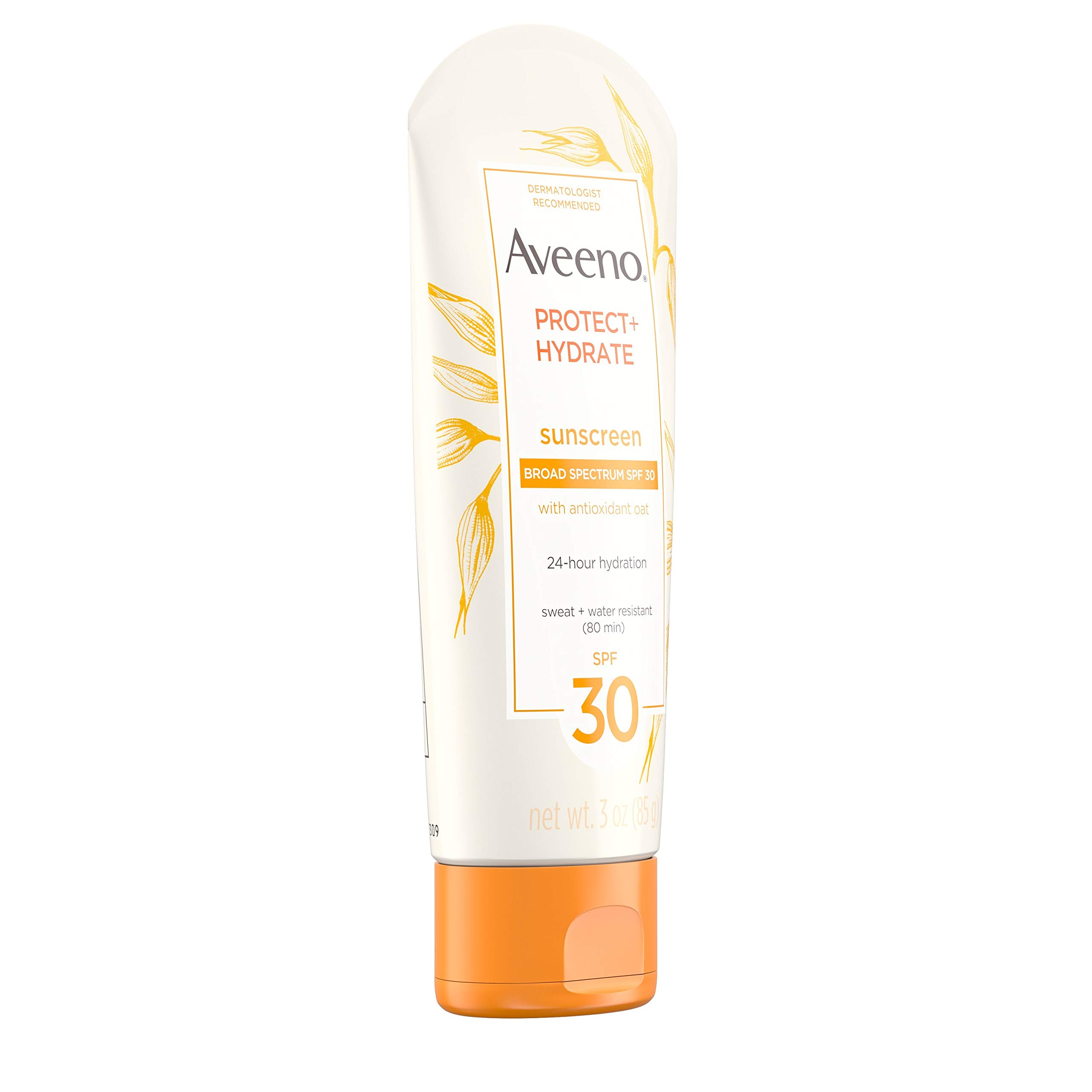 Aveeno Sun Protection + Hydrate Moisturizing Sunscreen Lotion with Broad Spectrum SPF 30 & Antioxidant Oat, Oil-Free, Sweat- & Water-Resistant, Travel-Size, 3 Oz