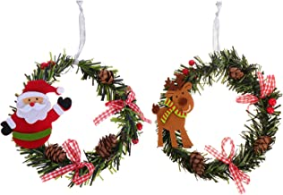 CLISPEED 2pcs Christmas Wreath Artificial Berry Pinecone Hanging Wreath Santa Reindeer Bowknot Ornament for Christmas Part...