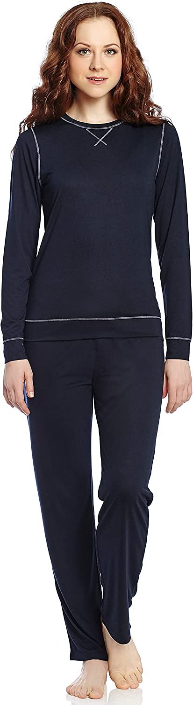 Leveret Women Silk 2 Piece Pajama Navy XSmall