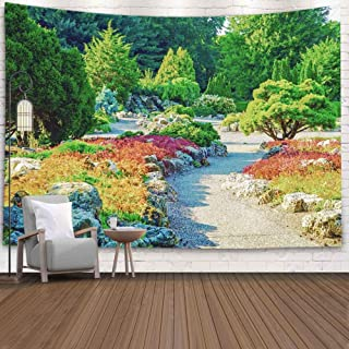 Teepel Hanging Wall Art Tapestry,80X60 Inch Large Tapestry Wall Hanging Colorful Japanese Garden Near Lake Minneapolis Minnesota Colorful Tapestry Wall Hanging,Tapestry Wall Hanging Decor