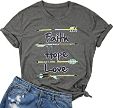 Faith Hope Love Christian Shirt Women Vintage Feather Arrow Graphic Tees Religious Short Sleeve T-Shirt Tops