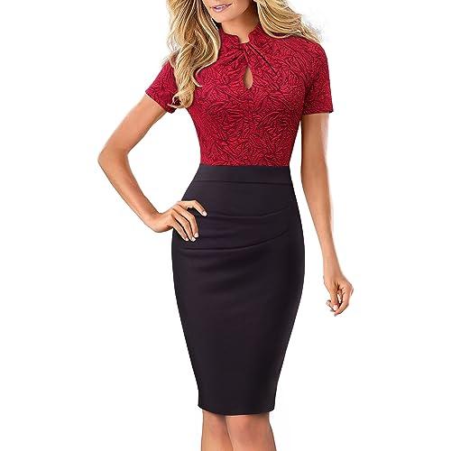 ee99839b1 HOMEYEE Women's Vintage Stand Collar Short Sleeve Bodycon Business Pencil  Dress B430