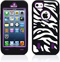 Robotek Zebra iPhone 5/5S/SE Full-Body Case   Heavy Duty Armor Shockproof Rugged Cover   Drop Resistant 360 Degree Protection   Protective Case with Built-in Screen Protector (Purple)