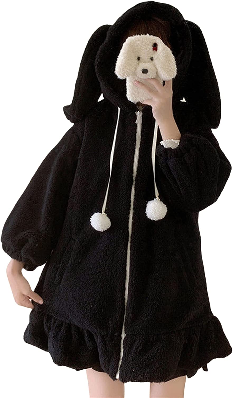 Women Cute Bunny Ear Hoodies Fleece Warm Long Sleeve Fuzzy Fluffy Rabbit Tops Sweatshirt Hoodie Jacket Coats
