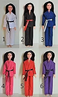 "Handmade Doll Clothes Karate Uniform Assorted Colors Gi Judo TKD fits 11"" Barbie Girl Dolls"