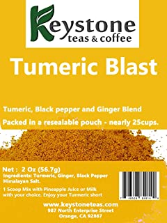 Turmeric Blast– Herbal tea 2 Oz (25 Cups) Natural Ingredients: Turmeric Black Pepper, Ginger and Himalayan salt –Keystone Teas & Coffee