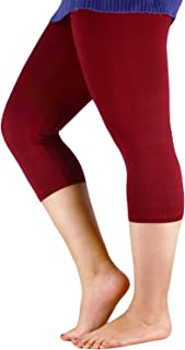 Century Star Women's Plus Size Elastic Waist Cotton Basic Solid Capri Leggings