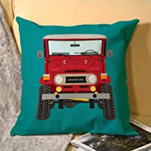 Toyota FJ40 (Red) Decorative Cotton Linen Throw Pillow Case Cover Sofa Couch Cushion Covers 18 X 18 Inch